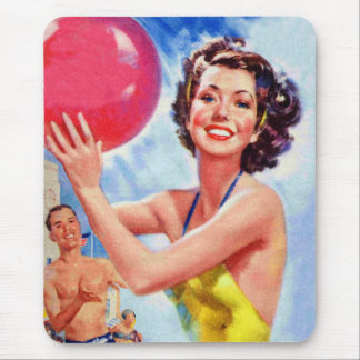 Vintage Retro 60s Beach Ball Girl Kitsch Mouse Pad