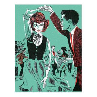 Vintage Retro 60s Teens Dancing Kitsch Book Art Postcard
