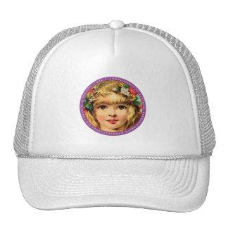 Vintage Retro Advertisment Flower Child Girl Trucker Hat