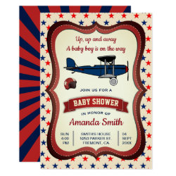 Vintage Retro Airplane Baby Shower Invitation