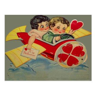 Vintage Retro Airplane Valentine Card