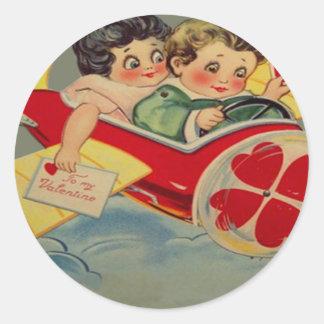 Vintage Retro Airplane Valentine Card Classic Round Sticker