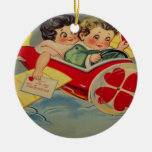 Vintage Retro Airplane Valentine Card Double-Sided Ceramic Round Christmas Ornament