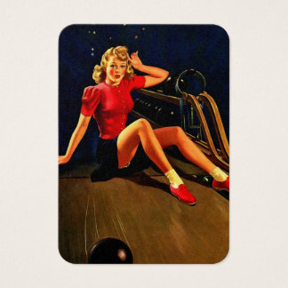 Vintage Retro Al Buell Bowling Pin-up Girl Business Card