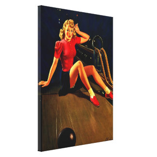 Vintage Retro Al Buell Bowling Pin-up Girl Canvas Print