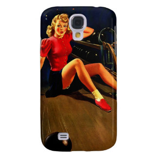 Vintage Retro Al Buell Bowling Pin-up Girl Galaxy S4 Case