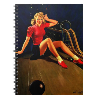 Vintage Retro Al Buell Bowling Pin-up Girl Spiral Notebooks