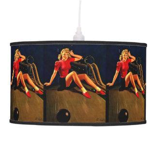 Vintage Retro Al Buell Bowling Pin-up Girl Pendant Lamp