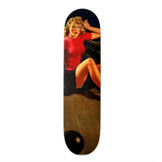 Vintage Retro Al Buell Bowling Pin-up Girl Skateboard Deck