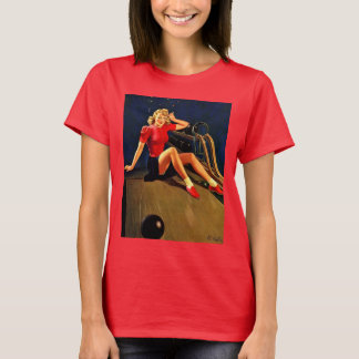 Vintage Retro Al Buell Bowling Pin-up Girl T-Shirt