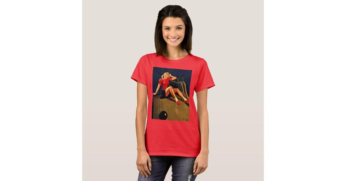 Vintage retro al buell bowling pin up girl t shirt zazzle for T shirt printing mobile al
