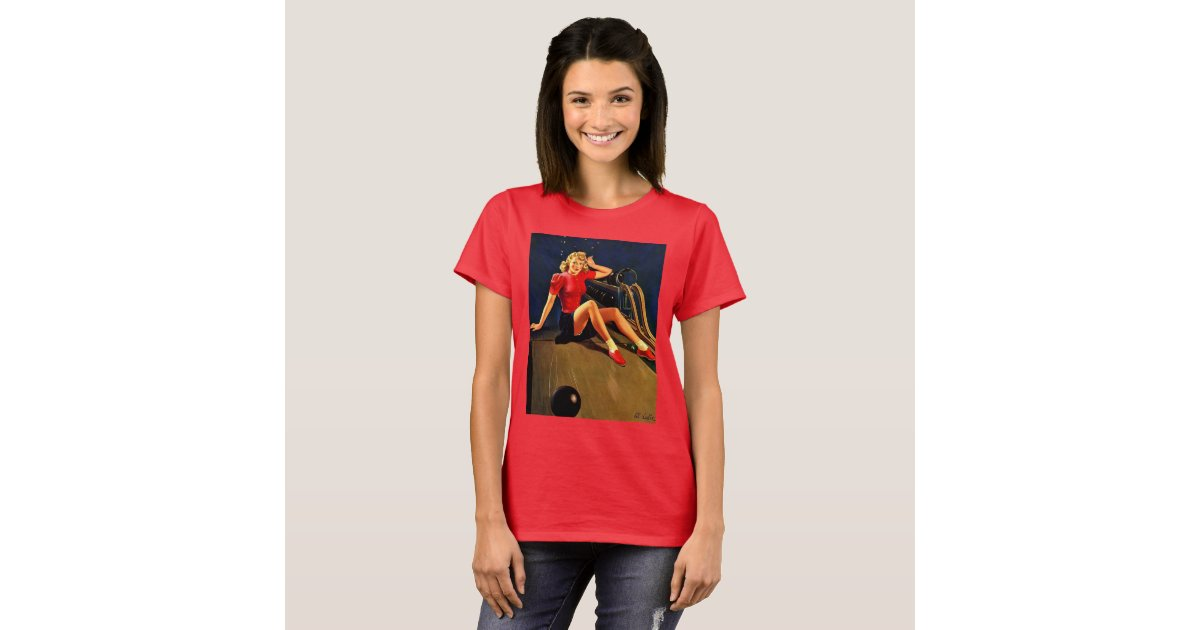 vintage retro al buell bowling pin up t shirt zazzle