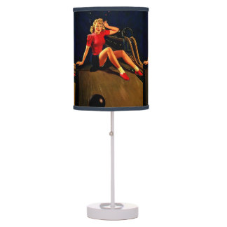 Vintage Retro Al Buell Bowling Pin-up Girl Table Lamp