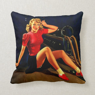 Vintage Retro Al Buell Bowling Pin-up Girl Throw Pillow