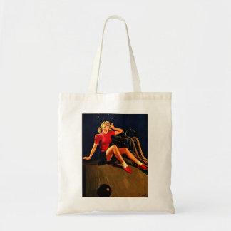 Vintage Retro Al Buell Bowling Pin-up Girl Tote Bag