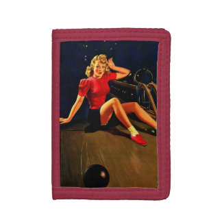 Vintage Retro Al Buell Bowling Pin-up Girl Tri-fold Wallet