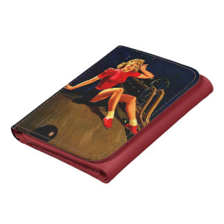 Vintage Retro Al Buell Bowling Pin-up Girl Tri-fold Wallet