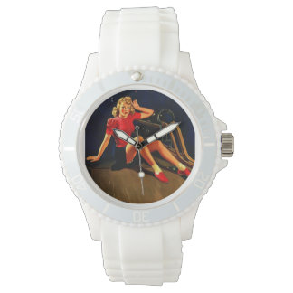 Vintage Retro Al Buell Bowling Pin-up Girl Watches