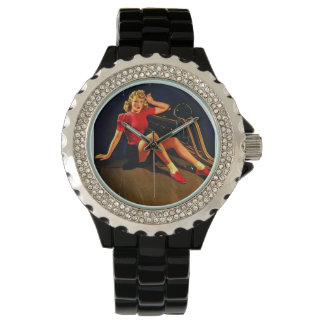 Vintage Retro Al Buell Bowling Pin-up Girl Wrist Watches
