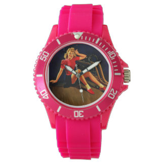 Vintage Retro Al Buell Bowling Pin-up Girl Wristwatches