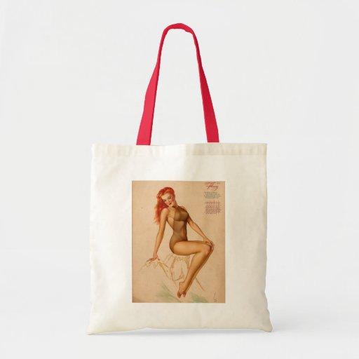 Vintage Retro Alberto Vargas Pin Up Girl Budget Tote Bag