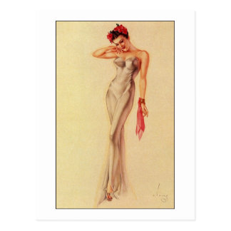 Vintage Retro Alberto Vargas Pin Up Girl Postcard