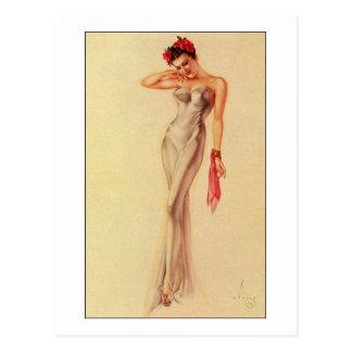 Vintage Retro Alberto Vargas Pin Up Girl Postcard
