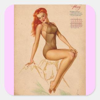 Vintage Retro Alberto Vargas Pin Up Girl Square Sticker
