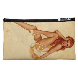 Vintage Retro Alberto Vargas Redhead Pin Up Girl Makeup Bag