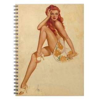 Vintage Retro Alberto Vargas Redhead Pin Up Girl Notebook