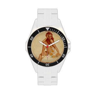 Vintage Retro Alberto Vargas Redhead Pin Up Girl Wrist Watch