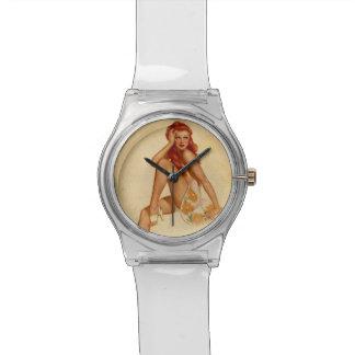 Vintage Retro Alberto Vargas Redhead Pin Up Girl Wristwatches