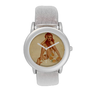 Vintage Retro Alberto Vargas Redhead Pin Up Girl Wristwatch