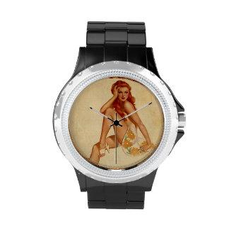 Vintage Retro Alberto Vargas Redhead Pin Up Girl Wrist Watches