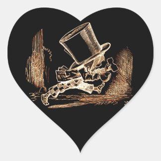 Vintage Retro Altered Light Golden Mad Hatter Heart Sticker