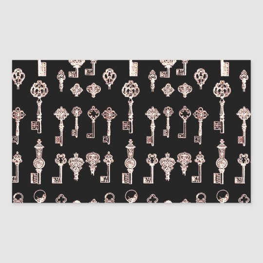Vintage Retro ALtered Light Silver Steampunk Keys Rectangular Sticker