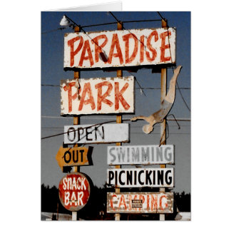 Vintage Retro Amusement Park Photo Greeting Card