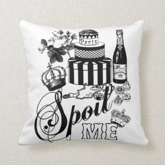 vintage retro antique chic black and white pillow