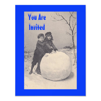 Vintage Retro antique Snow Play Date INVITATION