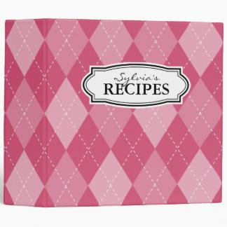 Vintage retro argyle pattern recipe binder book
