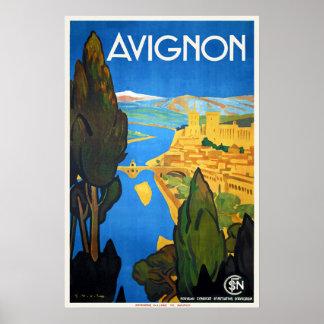 Vintage Retro Art Deco French Travel Avignon Poster