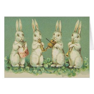 Vintage Retro Art Easter Bunny Bunnies Orchestra Card