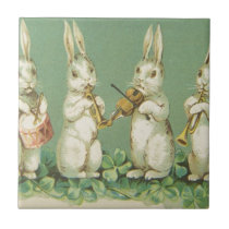 Vintage Retro Art Easter Bunny Bunnies Orchestra Ceramic Tile