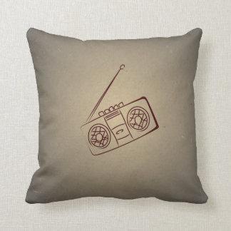 Vintage Retro Audio Cassette Player. Antique Paper Throw Pillow