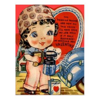 Vintage Retro Auto Mechanic Valentine Card Post Card