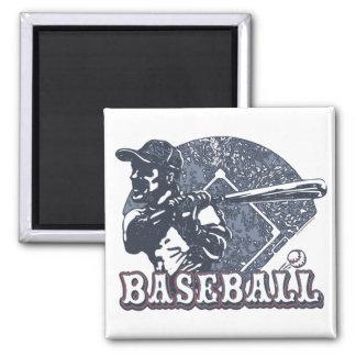 Vintage Retro Baseball Gear by Mudge Studios 2 Inch Square Magnet