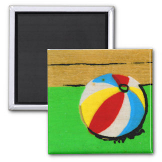 Vintage Retro Beach Ball Kids Art Illustration Magnet