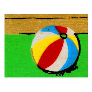 Vintage Retro Beach Ball Kids Art Illustration Postcard