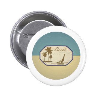 Vintage Retro Beach Palm Tree Boat Blue Sepia Tone Buttons