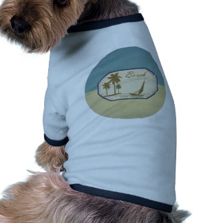 Vintage Retro Beach Palm Tree Boat Blue Sepia Tone Pet T Shirt